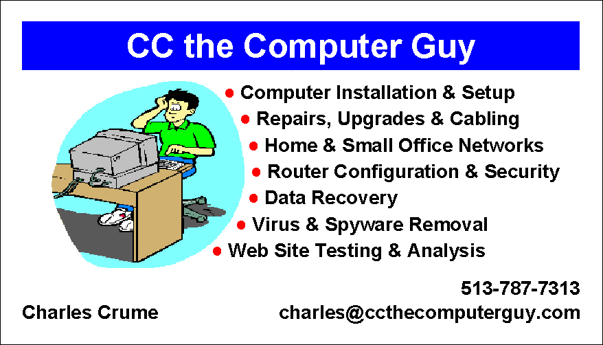 Computer Repair, SOHO networks, data recovery, laptops, virus removal, more...